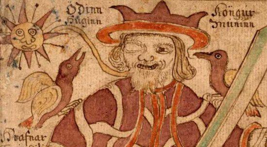 Хугин и Мунин на плечах Одина