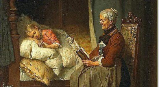 старушка читает сказку