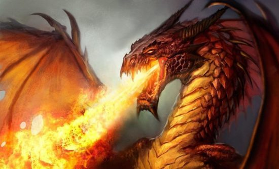 Дракон пышет огнем